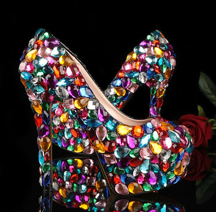 Crystal Glitter Fashion Multicolor Wedding Shoes Ladies Platform High Heel Evening Shoes Nightclub Dancing Dress Shoes for Woman(China (Mainland))