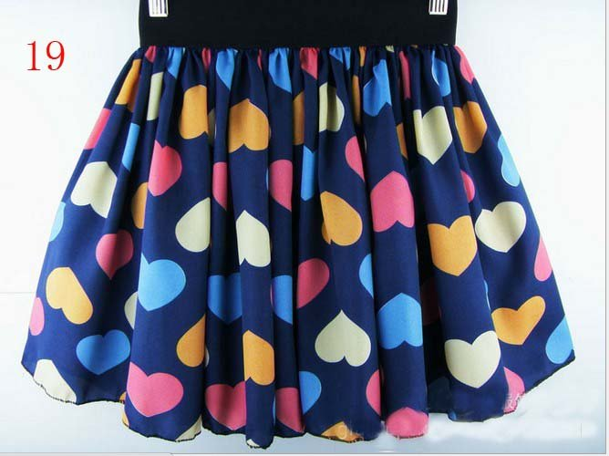 5pcs/lot Women chiffon Pleated Short Skirt Printed floral Skirt Elastic Waist all match Mini Skirt  Free Shipping 26 colors 077