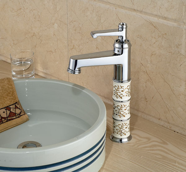 Фотография  European Style Chrome Brass  Waterfall Bathroom Faucet Taller  Vanity Vessel Sinks Mixer Tap Cold And Hot Water Tap