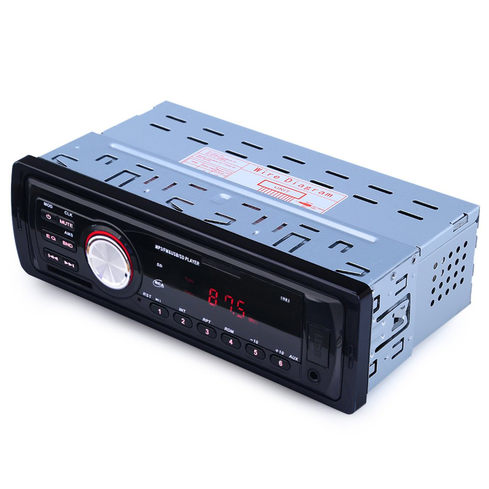 Hot sale 5983 Car In-Dash Stereo Audio FM Aux Input Receiver SD USB MP3 WMA Radio Player 1 DIN support for MP3 / WMA / WAV(China (Mainland))