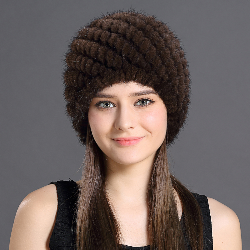 Mink Fur Hat For Women With Natural Real Fur Female Cap Women's Winter Hats Mink Fur Real Knitting Caps Pineapple Hat Hold Ears(China (Mainland))