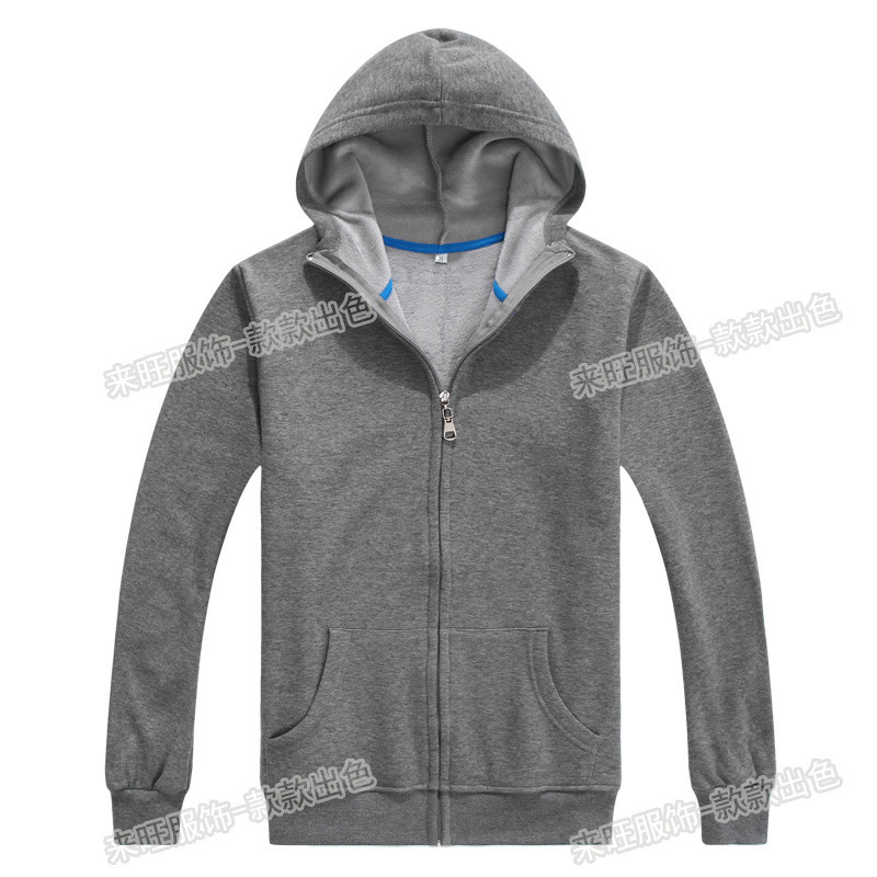 Customer's 500 g solid color hooded zipper/ jumper jacket  sweatshirt wholesale 9 color Size S-XXL can be printed or embroidery(China (Mainland))
