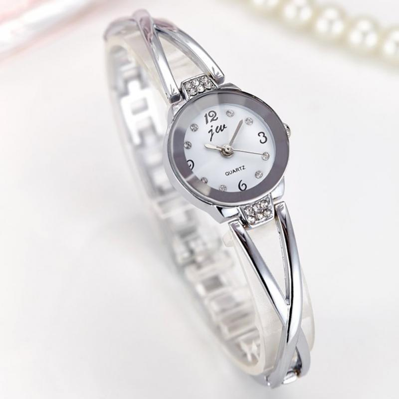 New Womens Ladies Steel Bracelet Golden Silver Strap Round Quartz Analog Watch Fashion Dress Bracelet Wrist