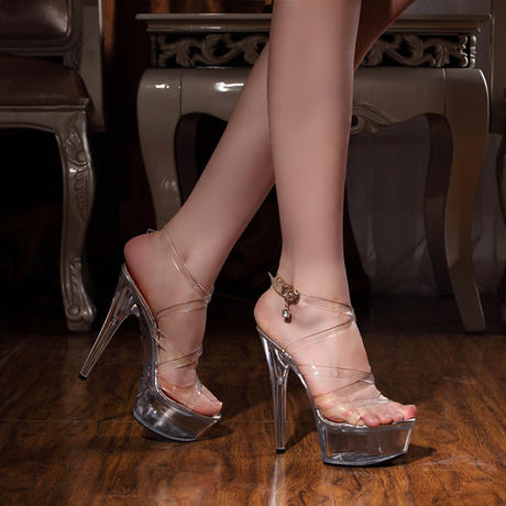 2015 new super 15cm high heels fine waterproof transparent crystal sandals shoes stage summer style High - US- Amoy store