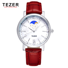 TEZER top brand luxury fashion red strap for leather women's watches for girls Umbrella designs new year gift with box 21573(China (Mainland))