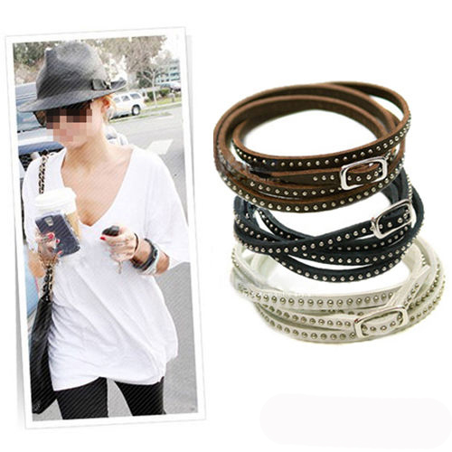 2015 Hot Sell Fashion individuality Cool Unisex Womens Vogue Wrap Cuff Bangle Punk Multilayer Leather Rivet Stud Bracelet(China (Mainland))