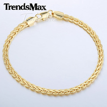 5MM Mens Chain Womens Bracelet Hammered Flat Wheat chain Yellow /Rose/White Gold Filled Bracelet High Quality Jewelry GBM56(Hong Kong)