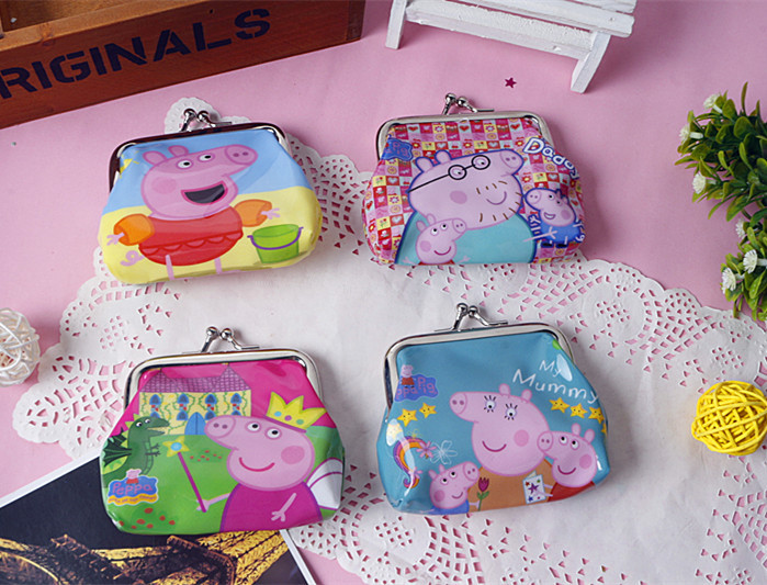 Peppa pig Coin Purses Square Hasp PVC Coin Purse organizer storage bags for kids children toys Wallet Party Supplies GYH(China (Mainland))