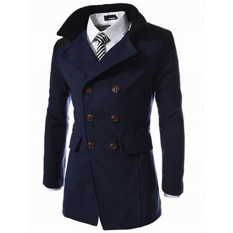 2016 Fashion Men's Autumn Winter Coat Turn-down Collar Wool Blend Men Pea Coat Double Breasted Winter Overcoat(China (Mainland))