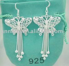 sterling silver butterfly hoop earrings,free shipping wholesale,silver jewelry(China (Mainland))