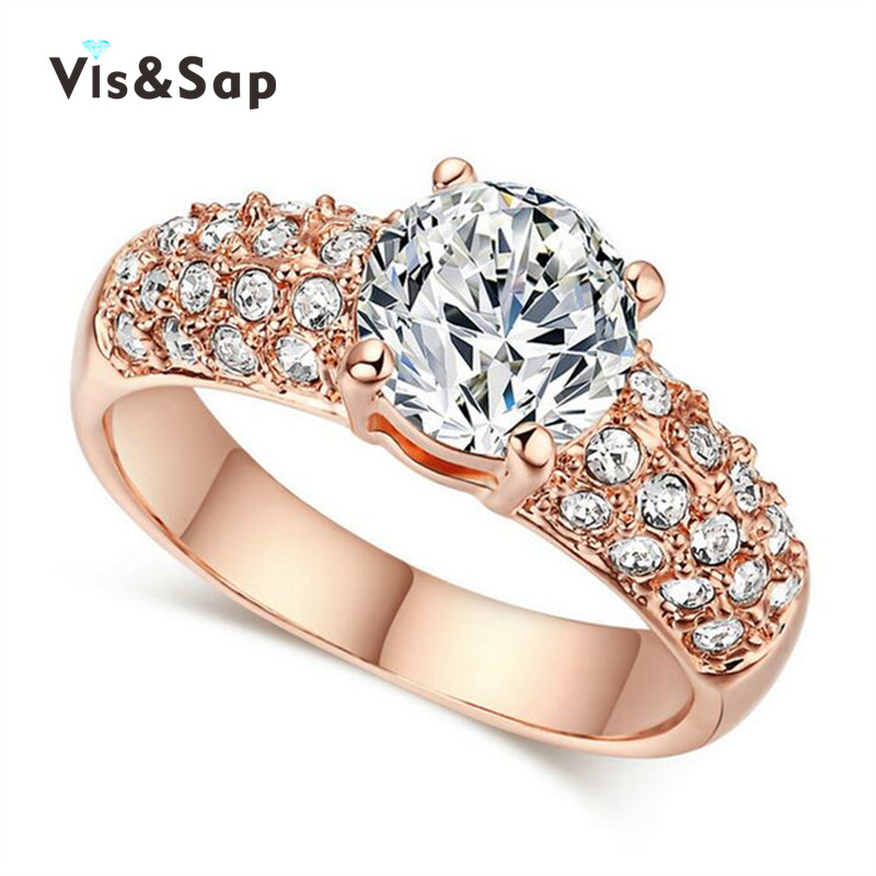 18k Rose Gold Plated Rings for women 2ct AAA cz diamond wedding engagement rings fashion Jewelry Bijoux Accessories V18KR003(China (Mainland))