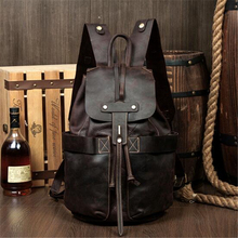 Buy 100% Genuine Leather Backpack Large Capacity Cow Leather Travel Bags High Quality Bucket Bag For Man /Women Vintage Laptop Bag for $121.39 in AliExpress store