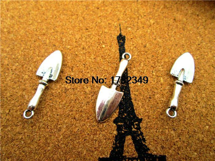 45pcs Trowel Shovel Charms Gardening Tools Pendants Antiqued Silver Double Sided 3D 9 x 22 mm(China (Mainland))