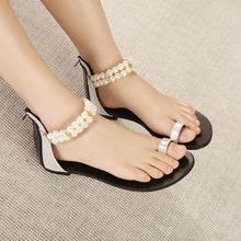 Comfortable Pearl Beaded Clip Toe Flats 2015 Summer Casual All-macth Sandals For Women Discount Cheap Hot Selling Shoes(China (Mainland))
