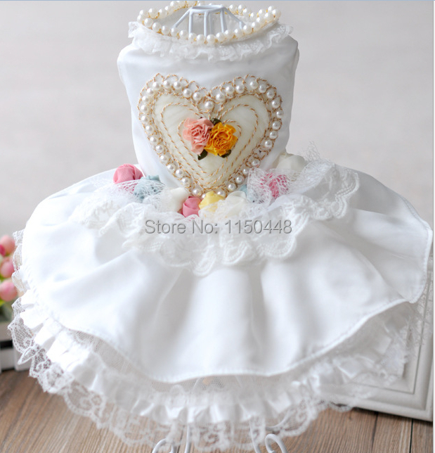 QY Clothes For Dog Clothes Puppy Dog Cat Clothing Pet Apparel Flower Rose satin drill Love Bead Wedding White Dog Dress XS-XL(China (Mainland))