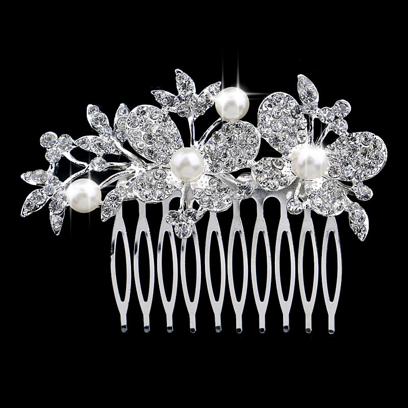 Bridal Rhinestone Crystal Pearl Hair Comb Wholesale H-150745(China (Mainland))