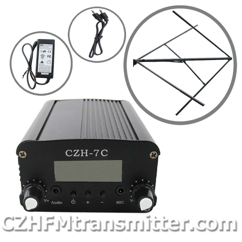 FMUSER 7W CZH CZE-7C FM stereo PLL broadcast transmitter Circularly polarized FM antenna power KIT fmuser(China (Mainland))