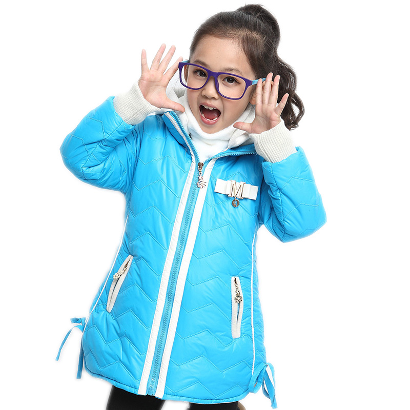 2015 new fashion girls winter jackets and coats winter thicken warm kids jackets girls medium long hooded girls parks 4 colors