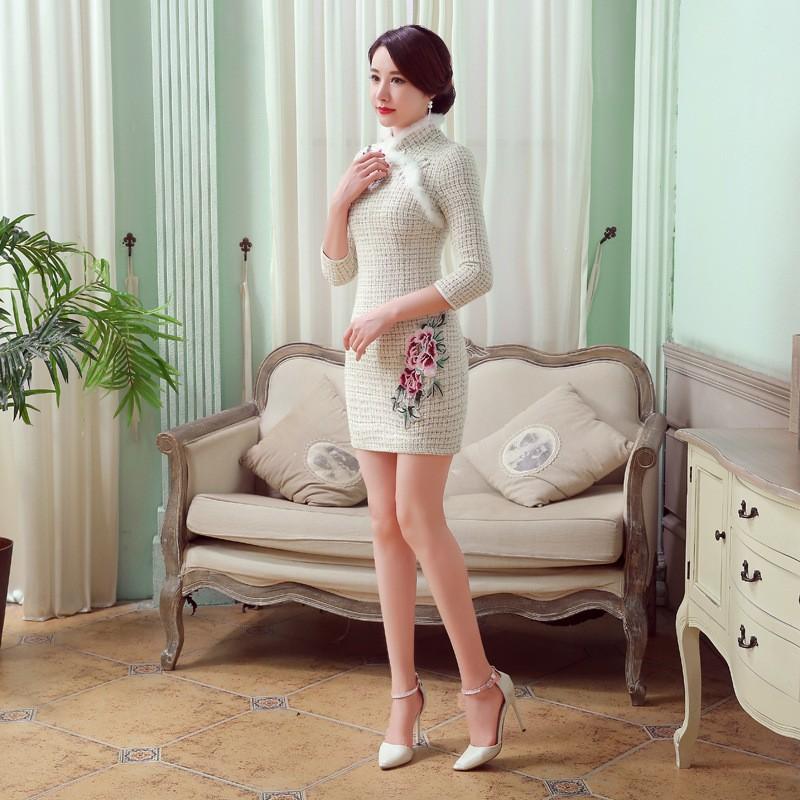 สีขาววินเทจของผู้หญิงขนสัตว์กระต่ายมินิCheongsamแฟชั่นสไตล์จีนชุดฤดูใบไม้ร่วงฤดูหนาวQipaoขนาดSml XL XXL F101417 ถูก
