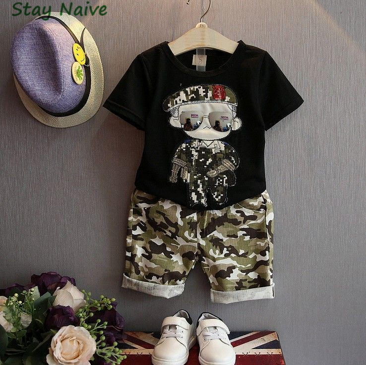Summer Children Boy Clothes Sets Kids 2pcs Short Sleeves T-Shirt Toddler Suits Camouflage Shorts Child Clothing Suits(China (Mainland))