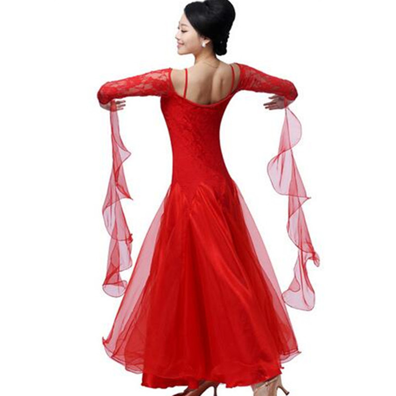 new lace pendulum ballroom dance dress customize woman long sleeve Perspective tango/waltz dance competition dress for practice(China (Mainland))