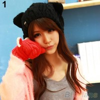 женские зимние Вязание крючком плетеный cat уши берет шапочка лыжный вязаная шапка шапочка 1qew 4btt
