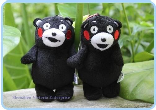24PCS 2014NEW Kawaii 12CM Japan Kumamon Bear Mascot Plush Stuffed TOY BAG Pendant DOLL ; KEY Chain Strap Pendant Charm Lanyard(China (Mainland))