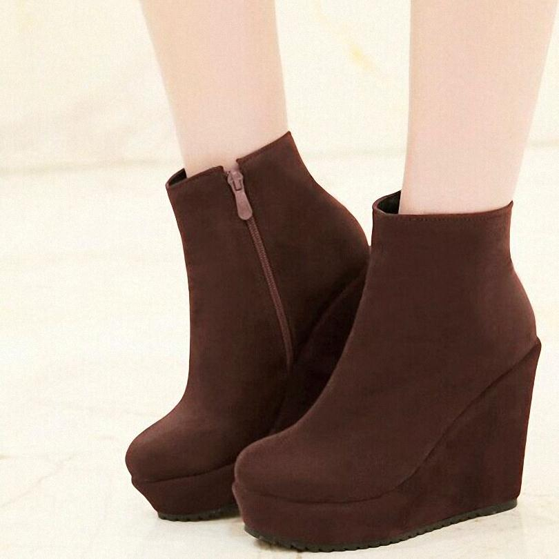 Black Red Brown  Flock fashion boots comfortable 11cm platforms ankle boots round toe wedges high heels women boots<br><br>Aliexpress