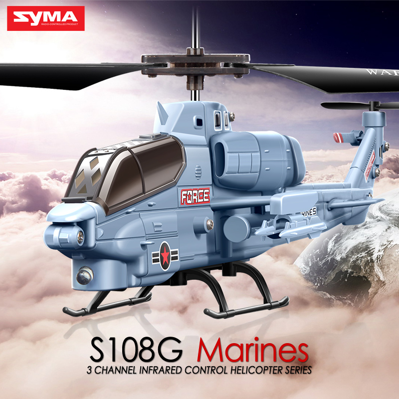 Hot Sale Syma S108G Marines AH-1 3CH Indoor RC Attack Helicopter Radio remote control Toys Gray color 100% Original(China (Mainland))