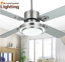 Stainless Steel Ceiling Fan Light 4 Blade Stainless Steel 42 Inches Ceiling Fan With Lights LED SMD Supplied(China (Mainland))