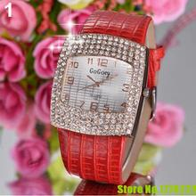 Hot 2015Women s Luxury Square Shiny Crystal Rhinestones Faux Leather Analog Wrist Watch 4KH1