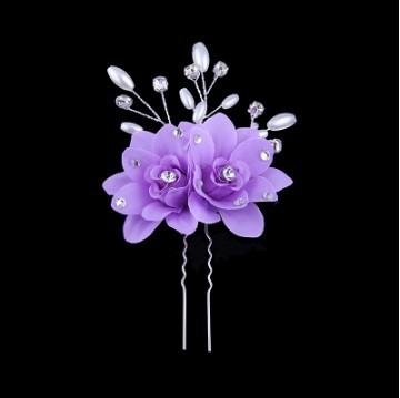 Korean fabric flowers handmade pearl hair fork hair clasp type U hair ornaments hair styling wedding bride headdress hairpin(China (Mainland))