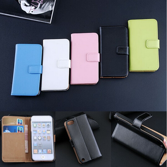 1pcs for apple touch5 Genuine Real Leather Case Cover Flip Wallet Stand Phone Pouch Accessories Card Slot Cases for iPod Touch 5(China (Mainland))