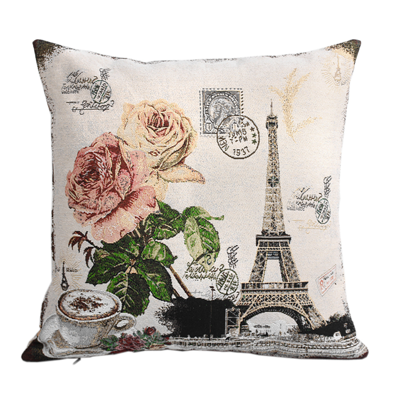 Paris Eiffer Tower Vintage Style Sofa Cushion Covers for Seat Couch Throw Pillow Cases Home Decoration(China (Mainland))