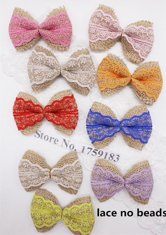 10pcs Natural Jute Burlap Hessian Ribbon 9 color Bowknot Vintage Wedding Craft Burlap Scrapbooking lace Hair