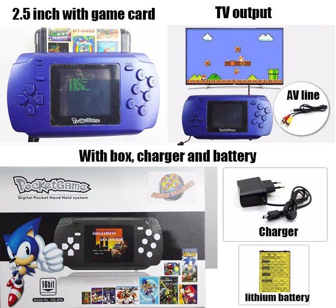 68 Built-in SEGA classical games 2.5Colorful Inch Screen Handheld Clone Game Player Consoles Video Game Player(China (Mainland))