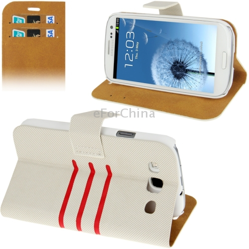 Denim Pattern Flip Leather Case with Credit Card Slot & Holder for Samsung Galaxy S III / i9300 (Beige)(China (Mainland))