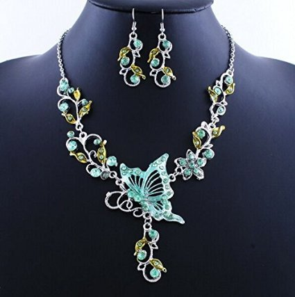 Vintage Butterfly Flower Necklace and Earrings Sets Fashion Wedding Party Chokers Necklace for Women(China (Mainland))