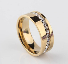 8mm  Oblique Zircon Carving 18k gold plated 316L Stainless Steel finger rings for women Free shipping wholesale