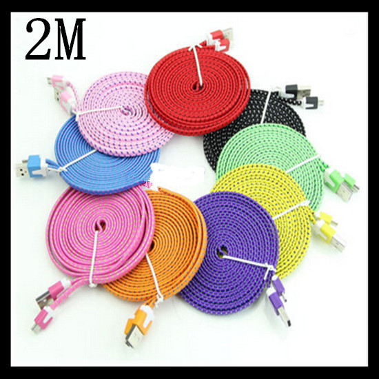 100pcs Fabric Nylon Micro USB Cable Samsung 2M/6FT 5pin Weave Micro USB Flat Noodle Data Sync Cord Samsung HTC