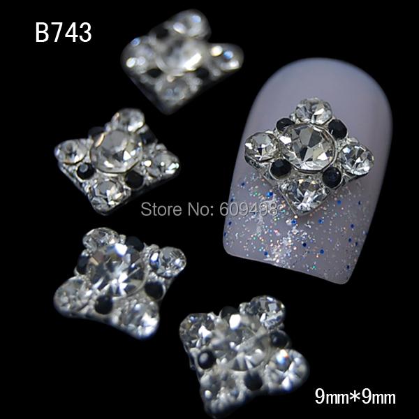 B743 50pcs/lot Rhinestones 3D Square Nails Art Styling Glitter Stones Alloy Studs Nail Decoration Slice Shiny Nail DIY(China (Mainland))