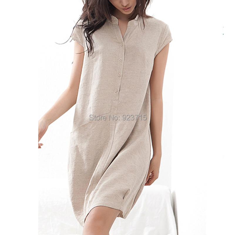 Queen linen dress retro new large size women long shirt for Long linen shirts for womens