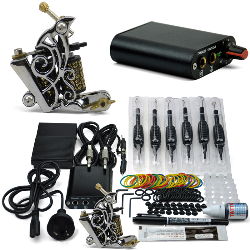 Professional Tattoo Kit 1 Tattoo Guns Cheap 8 wrap coils Pigment Induction Complete Tattoo Machine set for Beginner Body Art(China (Mainland))