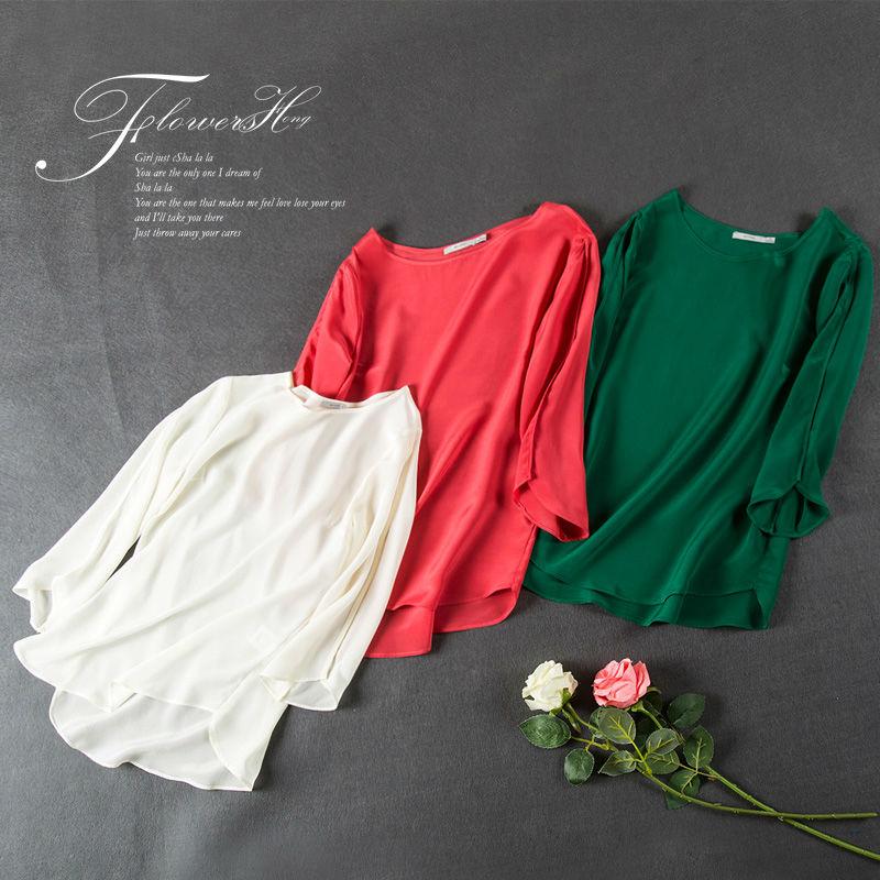 Buy silk women t shirt 3 4 sleeve solid for Silk white t shirt