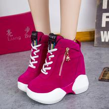 2015 autumn shoes side zipper lace up high women's elevator shoes platform shoes female casual shoes fashion winter boots