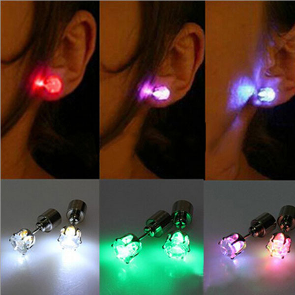 2014 hot cool fashion unique design LED Earrings Light Light Up Bling Ear Studs Dance Party Accessories Women(China (Mainland))