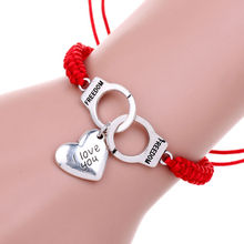 2016 New Fashion Simple Design Handmade Red Rope Braided Silver Love Heart  Charm Wrap Bracelet Gift Romantic confession Jewelry(China (Mainland))