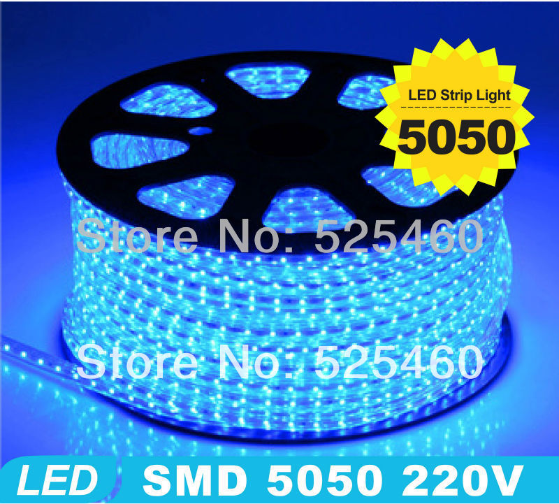 Waterproof 220V 5050SMD 60 LEDS 1meter/roll Waterproof Blue LED flexible Home Cabinet led strip light Out door high bright(China (Mainland))
