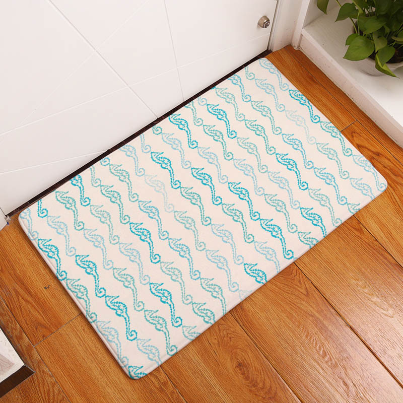 Coral Printing Flannel Carpet Hippocampus Pattern Mat For Living ...