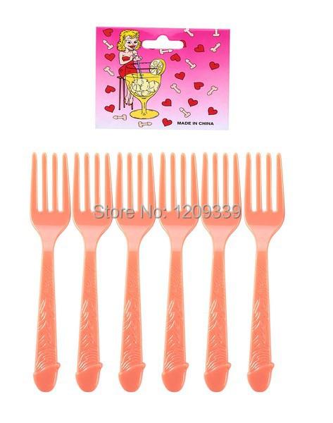Hens party Joke Sexy Toys Dicky Plastic Fork 10pcs/lot(China (Mainland))